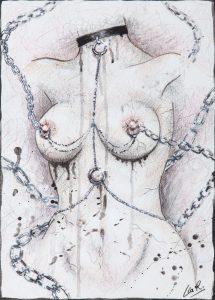 Déchaînée - Oeuvre sur papier - A4 - Fetish - Chaînes - Sensualité