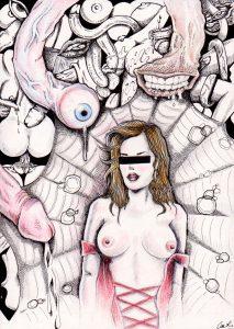 Pornographie 1 - Oeuvre sur papier - 29,7 x 21 cm Nudité