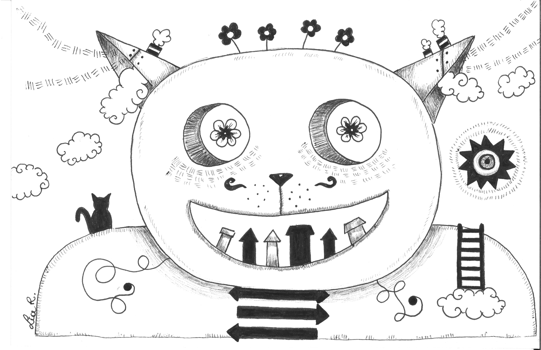 Œuvre sur papier «Le chat fou 1» – Lia R.