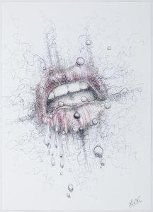 Envie - Œuvre sur papier - A4 - bouche sensuelle - piercings