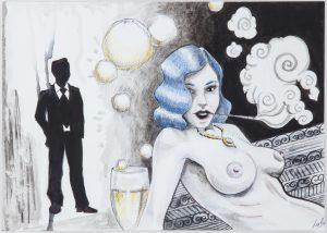 Rendez-vous - oeuvre sur papier inspiration Prohibition - champagne
